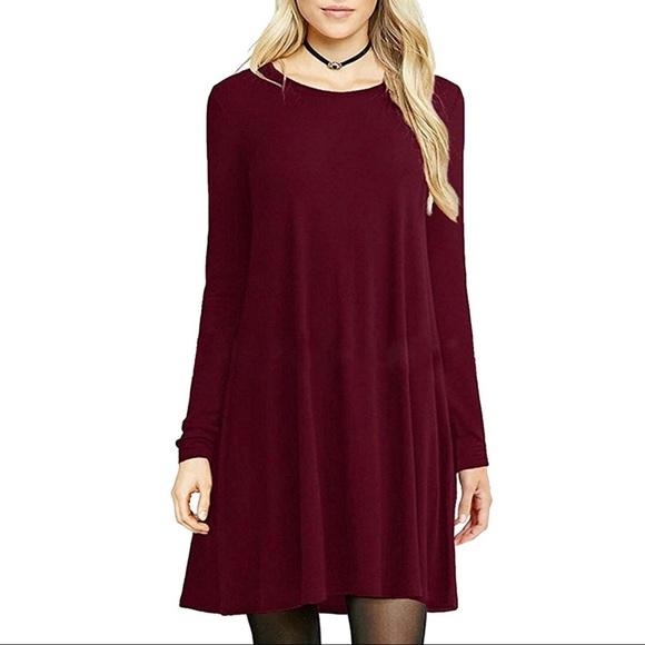 eba45412e0c6 Burgundy Loose Fit Round Neck Swing Dress